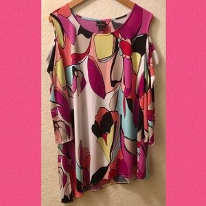 Worthington abstract floral colorful tunic Sz XL